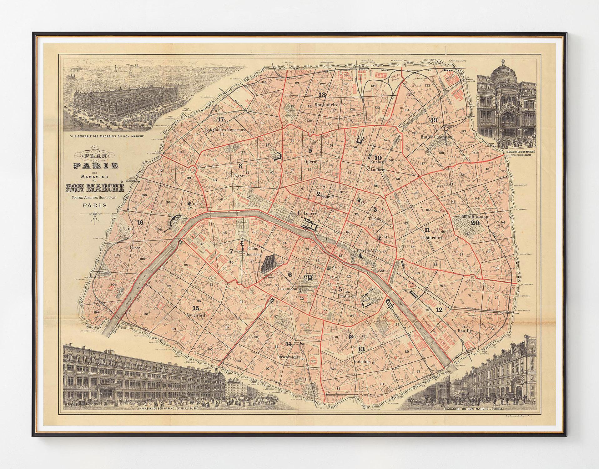 1893 plan de paris bon marche majesty maps prints. Black Bedroom Furniture Sets. Home Design Ideas